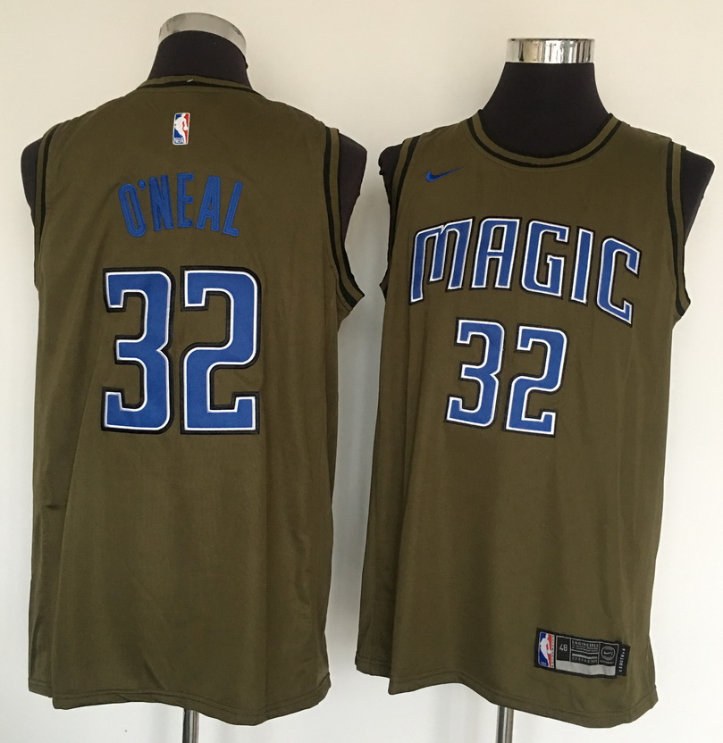 Magic 32 Shaquille O'Neal Olive Nike Swingman Jersey