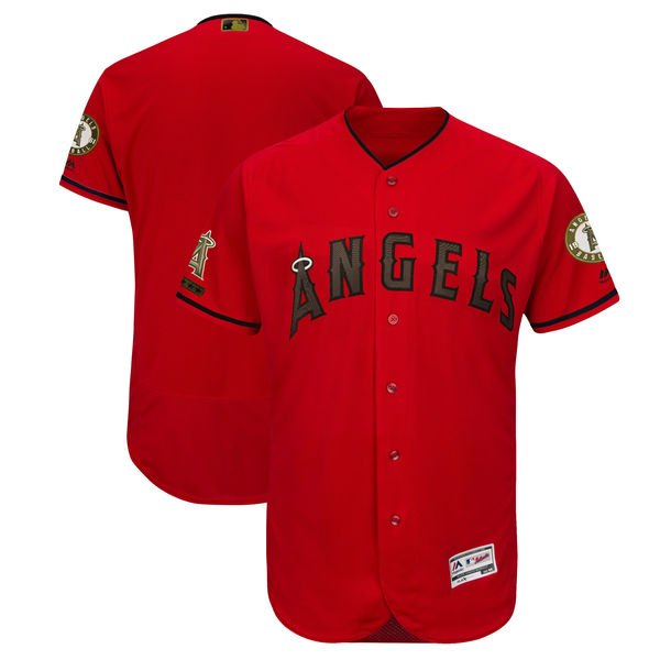 Angels Blank Red 2018 Memorial Day Flexbase Jersey