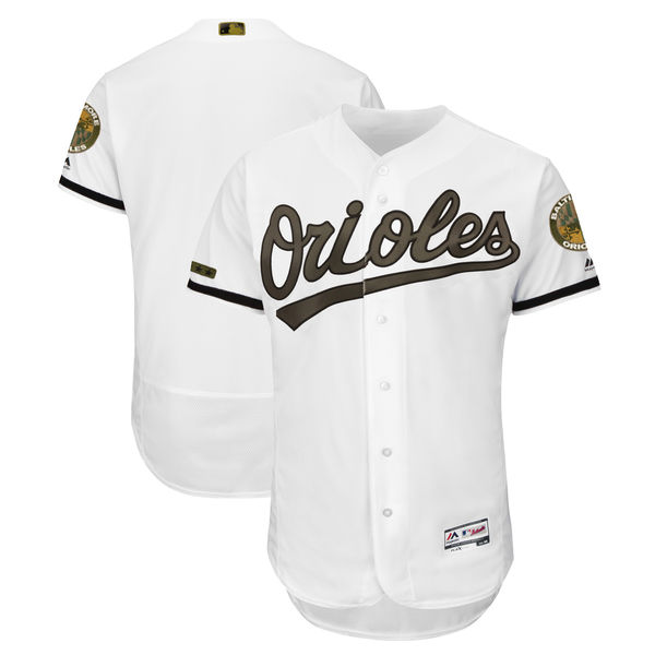Orioles Blank White 2018 Memorial Day Flexbase Jersey