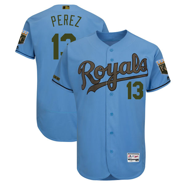 Royals 13 Salvador Perez Blue 2018 Memorial Day Flexbase Jersey
