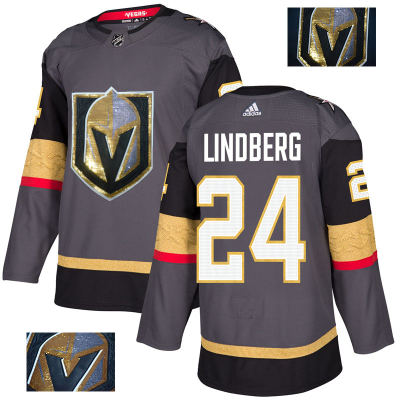 Vegas Golden Knights 24 Oscar Lindberg Gray With Special Glittery Logo Adidas Jersey