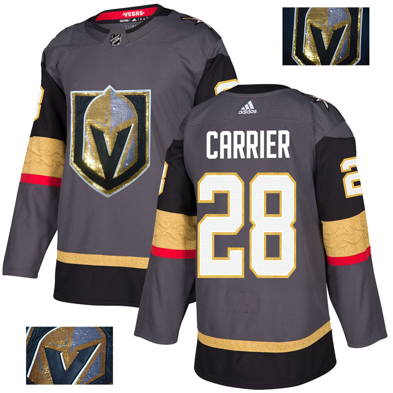 Vegas Golden Knights 28 William Carrier Gray With Special Glittery Logo Adidas Jersey