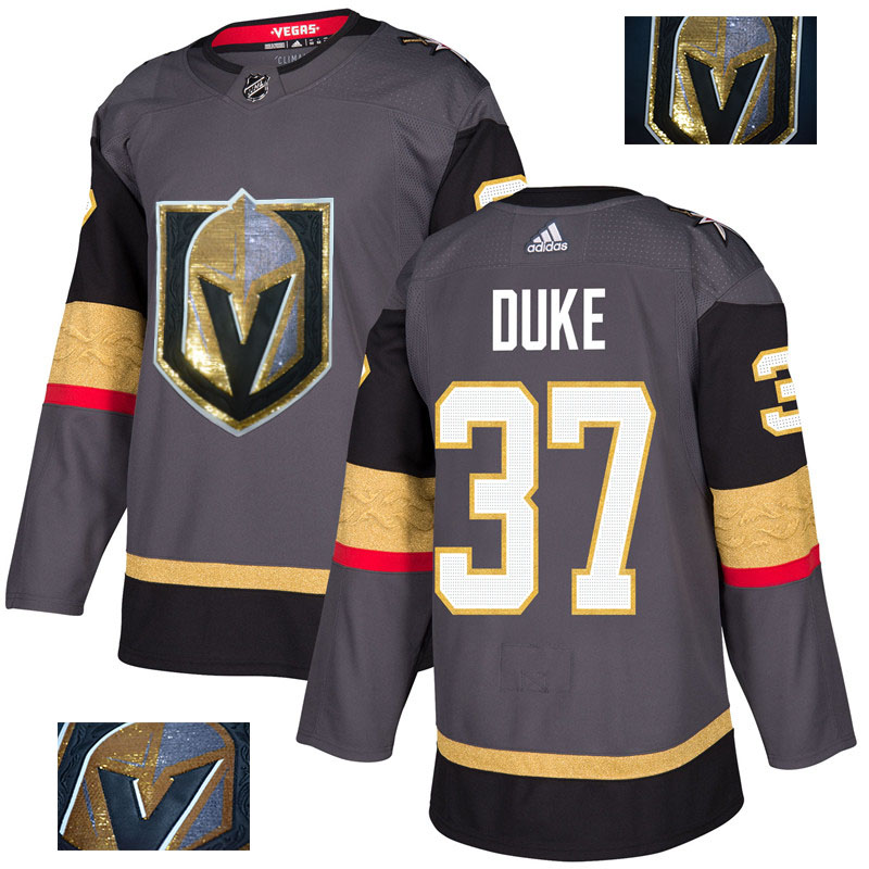 Vegas Golden Knights 37 Reid Duke Gray With Special Glittery Logo Adidas Jersey