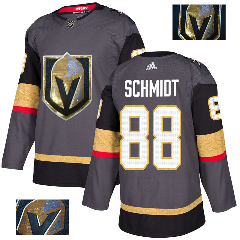 Vegas Golden Knights 88 Nate Schmidt Gray With Special Glittery Logo Adidas Jersey