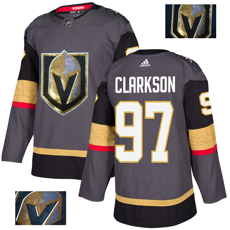 Vegas Golden Knights 97 David Clarkson Gray With Special Glittery Logo Adidas Jersey