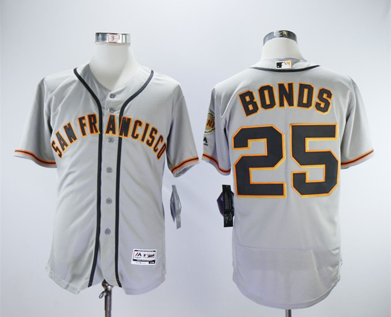 Giants 25 Barry Bonds Gray Flexbase Jersey