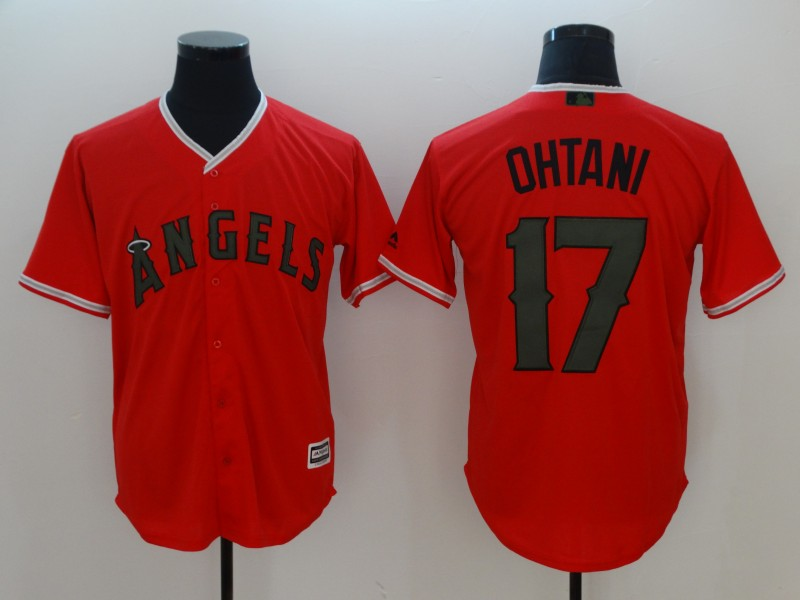 Angels 17 Shohei Ohtani Red 2018 Memorial Day Cool Base Jersey