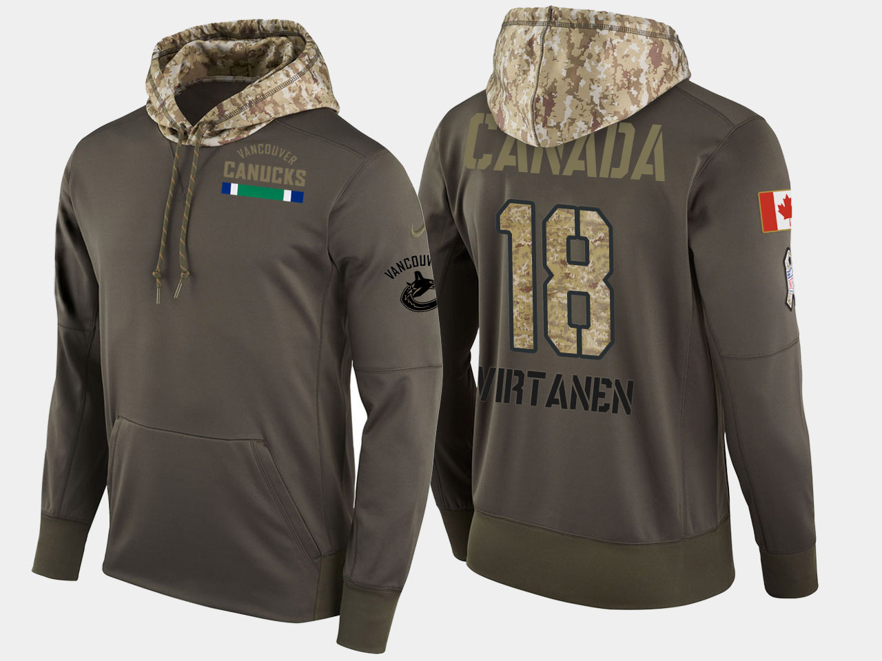 Nike Canucks 18 Jake Virtanen Olive Salute To Service Pullover Hoodie