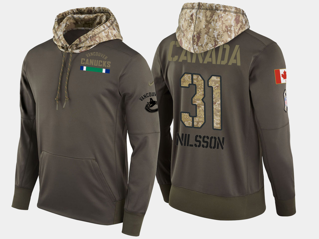 Nike Canucks 31 Anders Nilsson Olive Salute To Service Pullover Hoodie