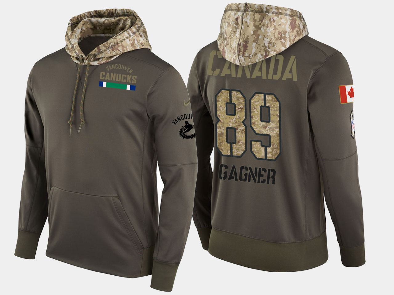 Nike Canucks 89 Sam Gagner Olive Salute To Service Pullover Hoodie