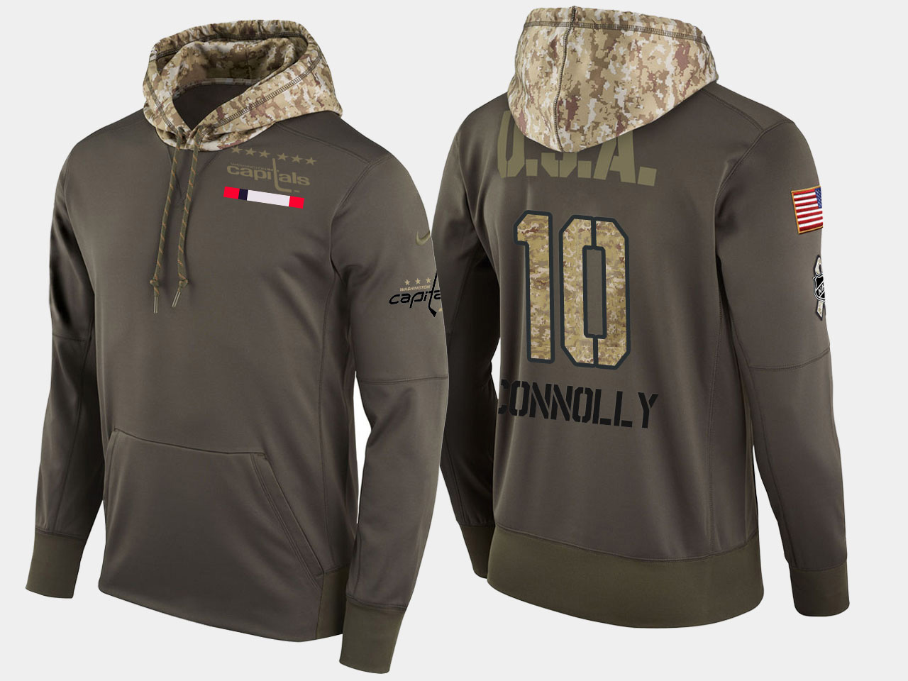 Nike Capitals 10 Brett Connolly Olive Salute To Service Pullover Hoodie