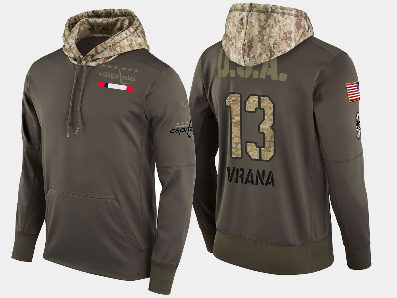 Nike Capitals 13 Jakub Vrana Olive Salute To Service Pullover Hoodie