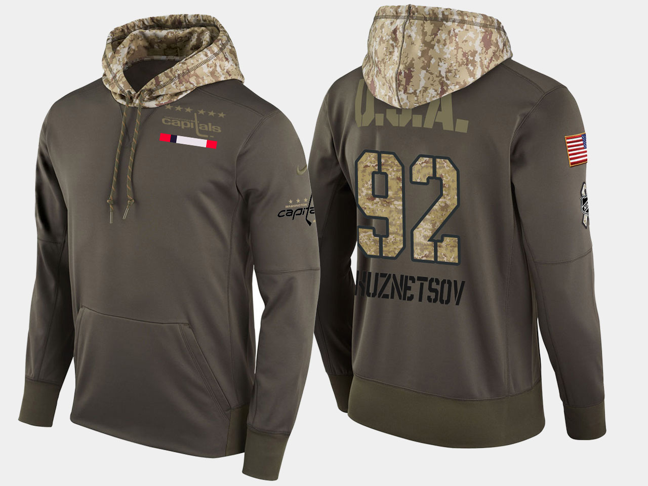 Nike Capitals 92 Evgeny Kuznetsov Olive Salute To Service Pullover Hoodie