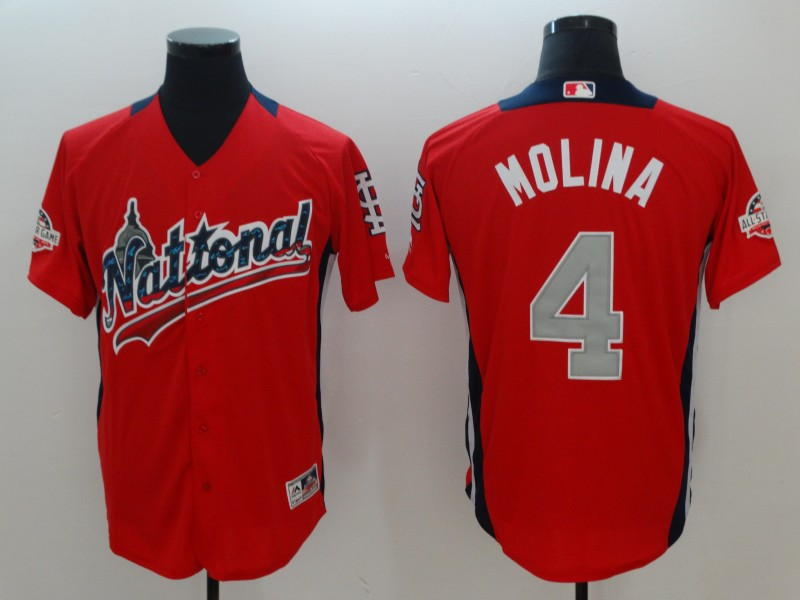 National League 4 Yadier Molina Red 2018 MLB All-Star Game Home Run Derby Jersey