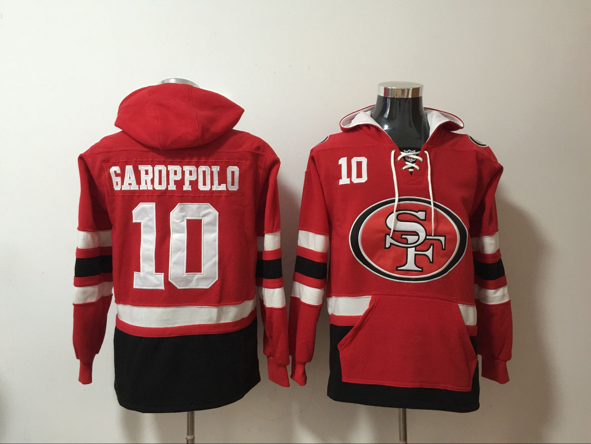 Nike 49ers 10 Jimmy Garoppolo Red All Stitched Hooded Sweatshirt