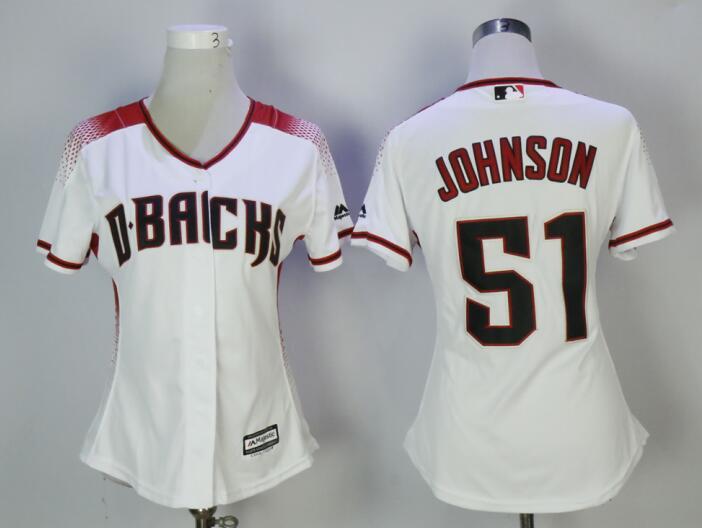 Diamondbacks 51 Randy Johnson White/Sedona Women Cool Base Jersey