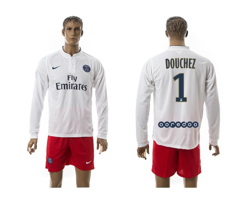 2014-15 Paris Saint Germain 1 Douchez Away Long Sleeve Jerseys