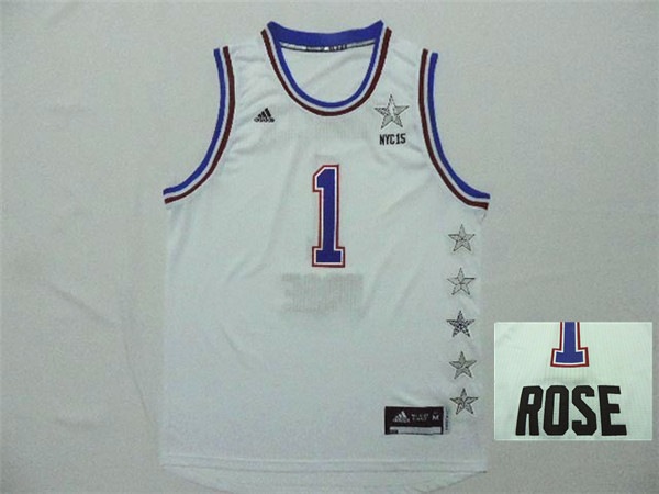 2015 NBA All Star NYC Eastern Conference 1 Derek Rose White Jerseys