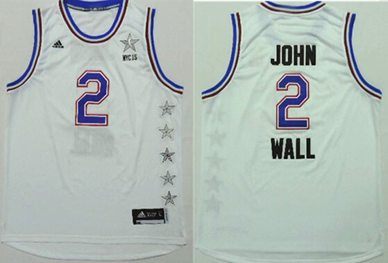 2015 NBA All Star NYC Eastern Conference 2 John Wall White Jerseys