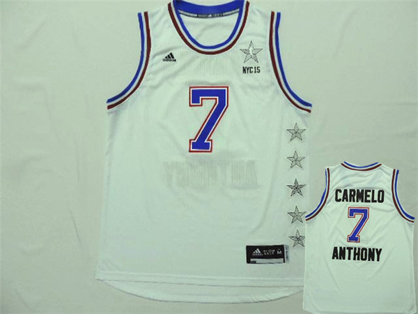 2015 NBA All Star NYC Eastern Conference 7 Carmelo Anthony White Jerseys