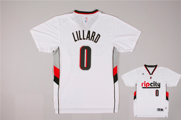 Blazers 0 Lillard White Rip City Short Sleeve Jerseys