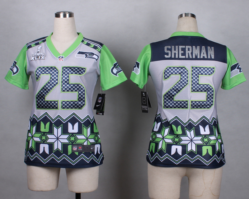 Nike Seahawks 25 Sherman Noble Fashion 2015 Super Bowl XLIX Women Jerseys