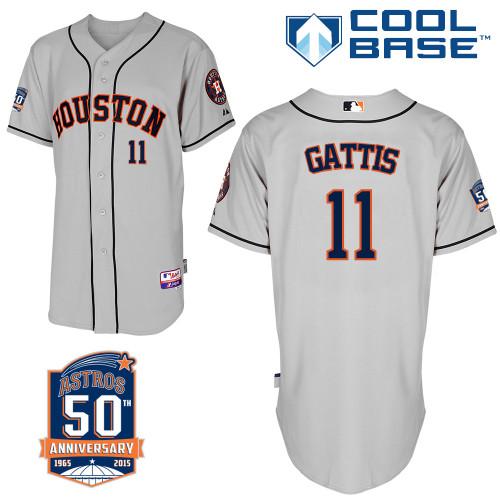 Astros 11 Gattis Grey 50th Anniversary Patch Cool Base Jerseys