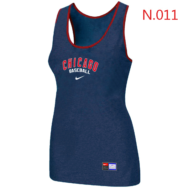 Nike Chicago Cubs Tri Blend Racerback Stretch Tank Top Blue