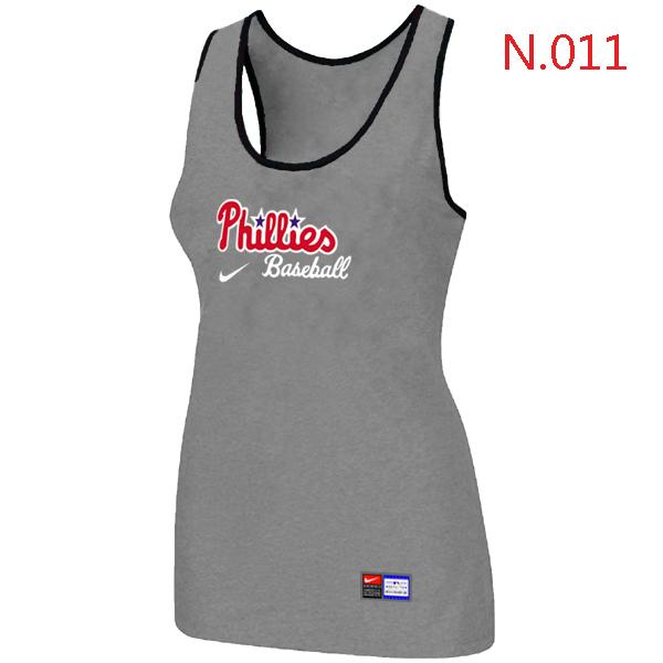Nike Philadelphia Phillies Tri Blend Racerback Stretch Tank Top L.grey