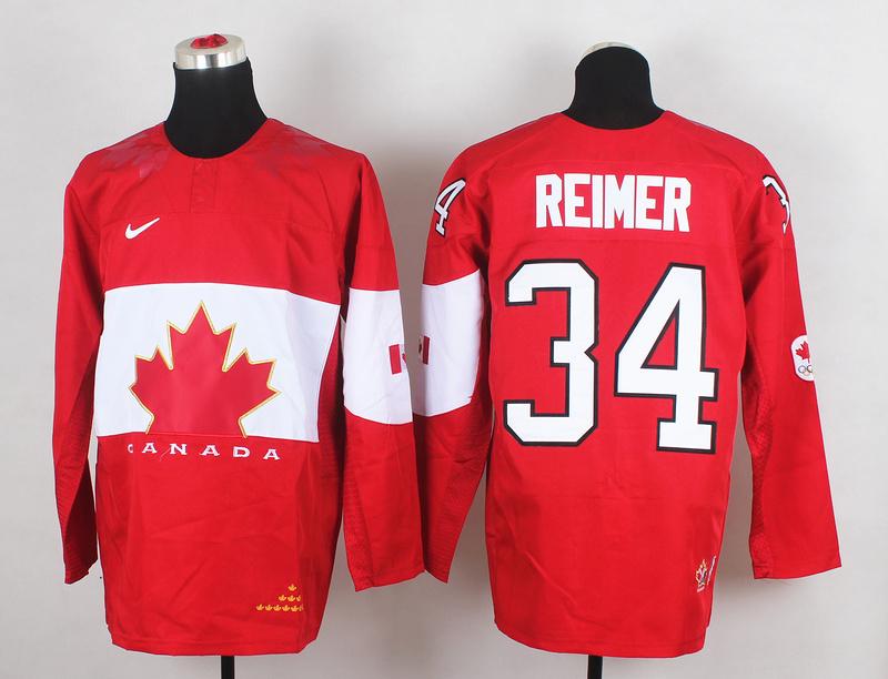 Canada 34 Reimer Red 2014 Olympics Jerseys
