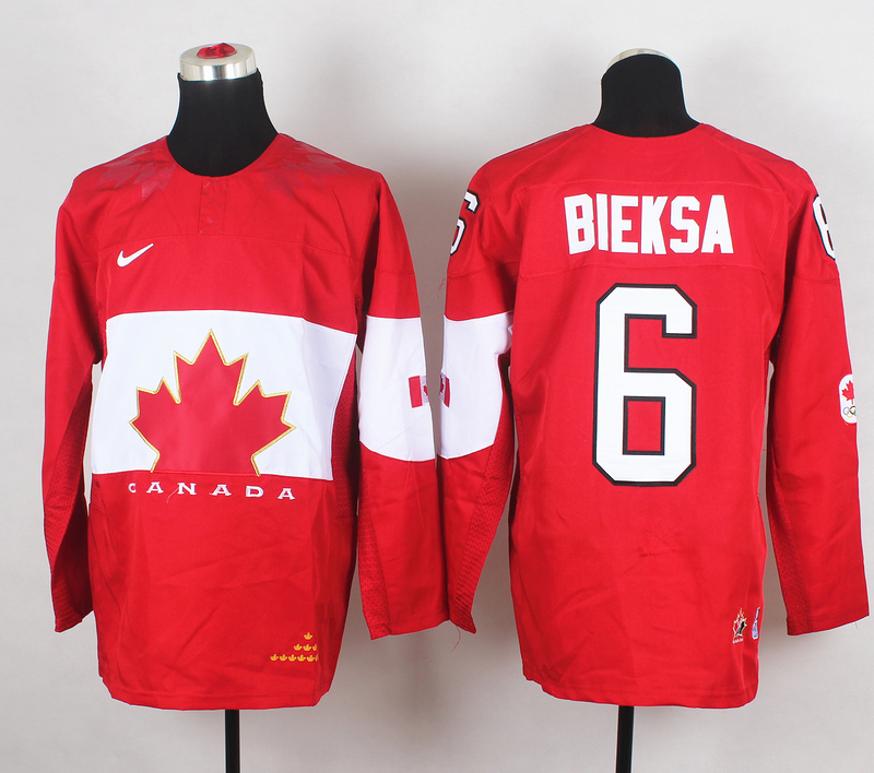 Canada 6 Bieksa Red 2014 Olympics Jerseys