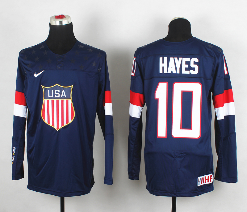 USA 10 Hayes Blue 2014 Olympics Jerseys