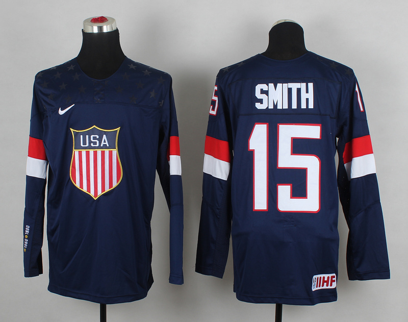 USA 15 Smith Blue 2014 Olympics Jerseys