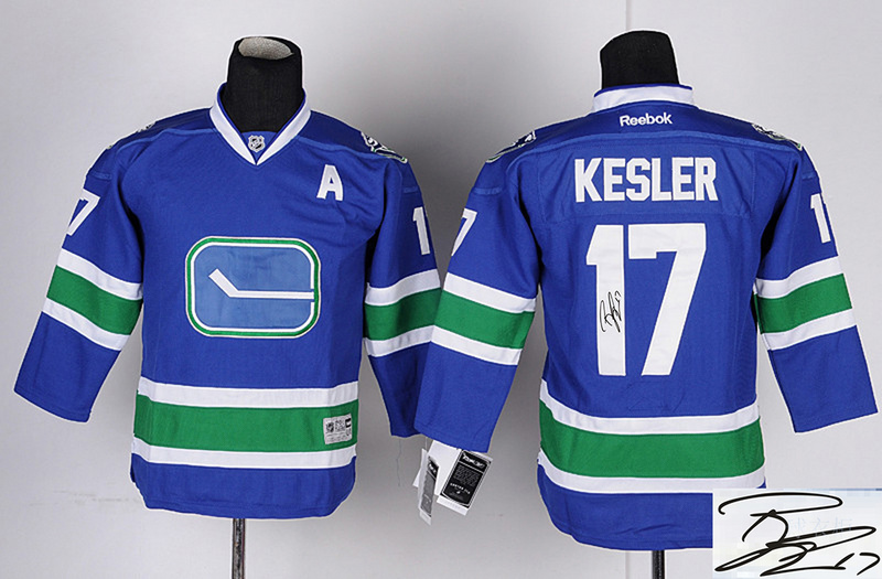 Canucks 17 Kesler Blue Third Signature Edition Youth Jerseys
