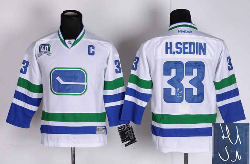Canucks 33 H.Sedin White Third Signature Edition Youth Jerseys