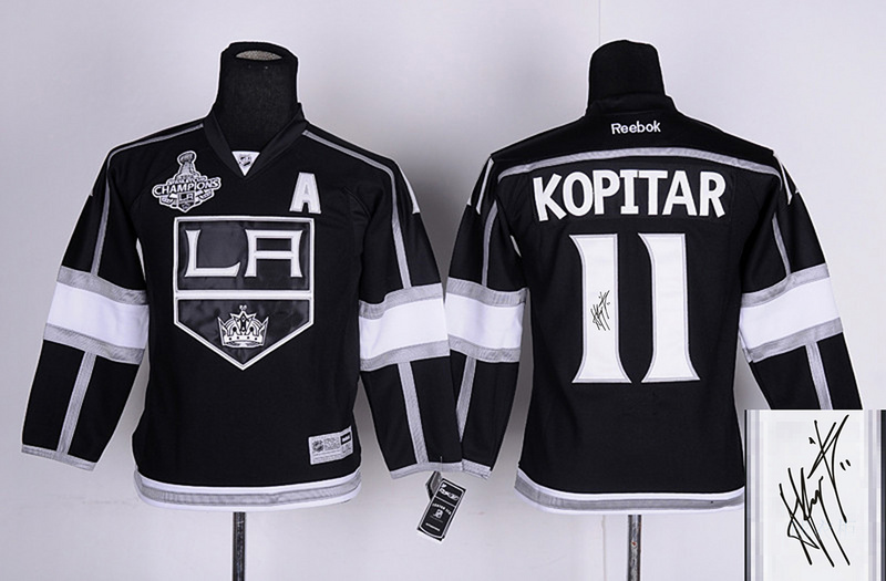 Kings 11 Kopitar Black Signature Edition Youth Jerseys