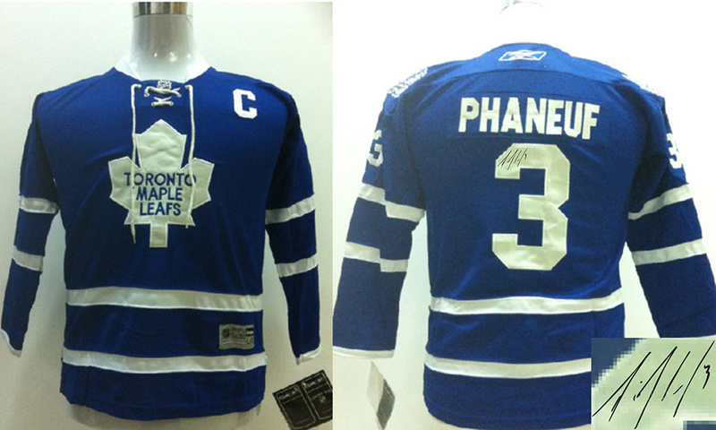 Maple Leafs 3 Phaneuf Blue Signature Edition Youth Jerseys