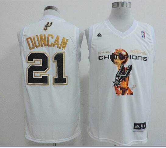 Spurs 21 Duncan White 2014 Champions Jerseys