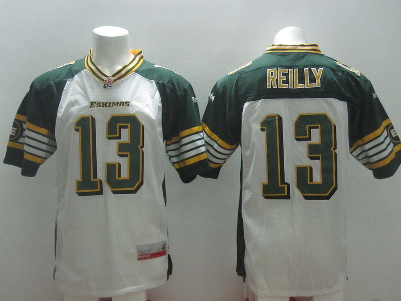 Reebok CFL Eskimos 13 Reilly White Jerseys