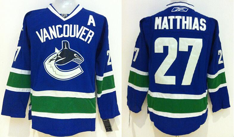 Canucks 27 Matthias Blue Jerseys