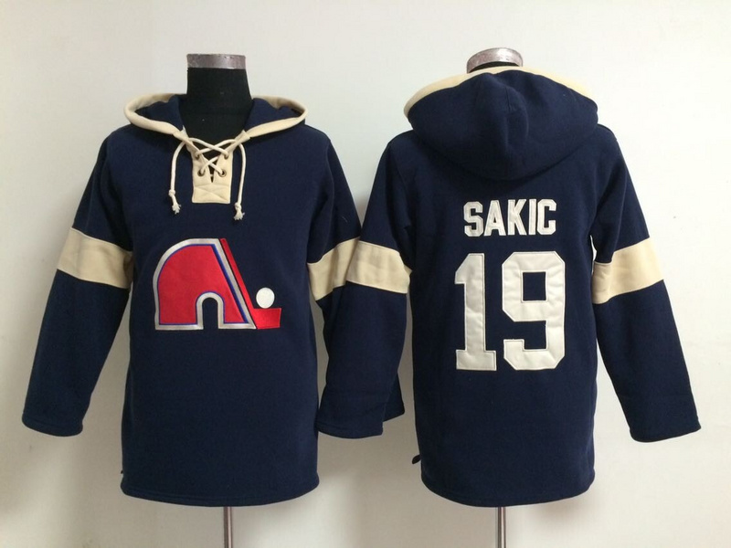 Nordiques 19 Sakic Navy Blue Hooded Jerseys