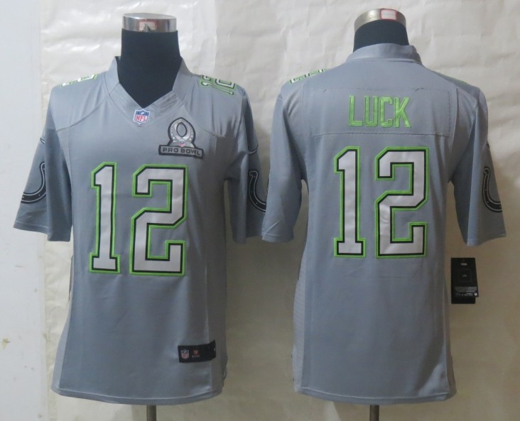 Nike Colts 12 Luck Grey 2014 Pro Bowl Jerseys