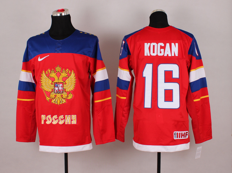 Russia 16 Kogan Red 2014 Olympics Jerseys