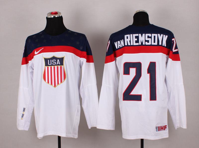 USA 21 Van Riemsdyk White 2014 Olympics Jerseys
