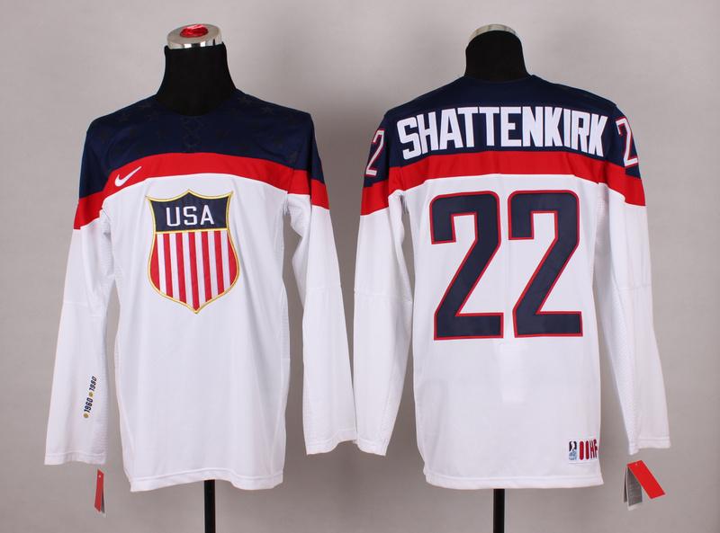 USA 22 Shattenkirk White 2014 Olympics Jerseys