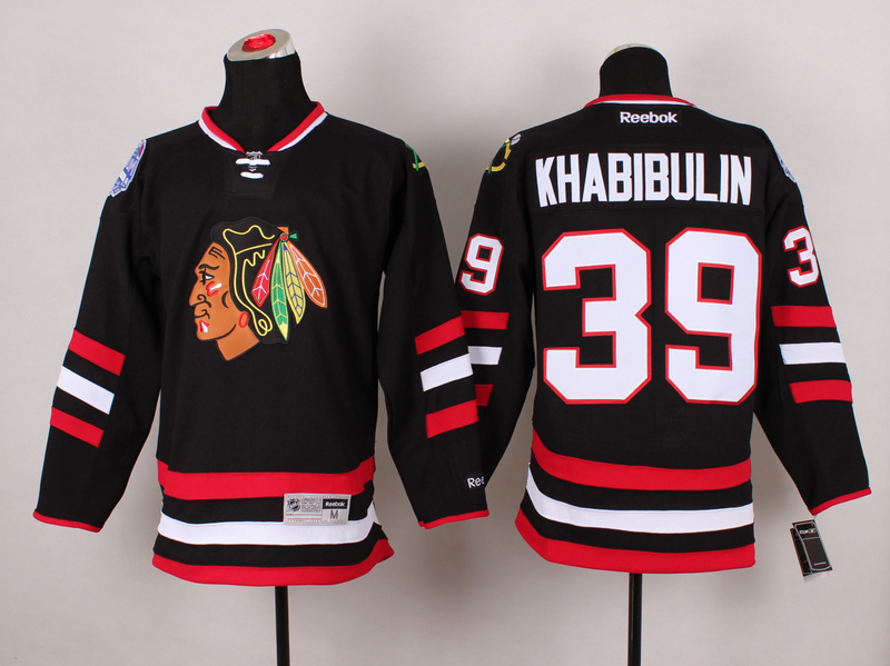 Blackhawks 39 Khabibulin Black 2014 Stadium Series Jerseys