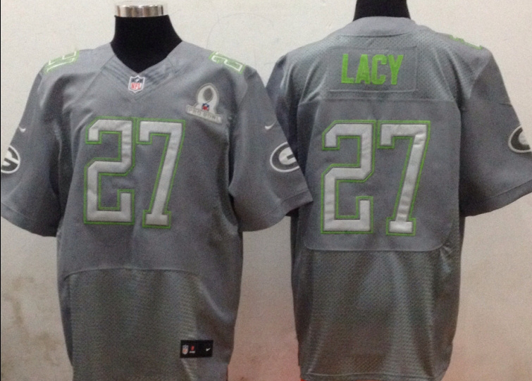 Nike Packers 27 Lacy Grey 2014 Pro Bowl Jerseys