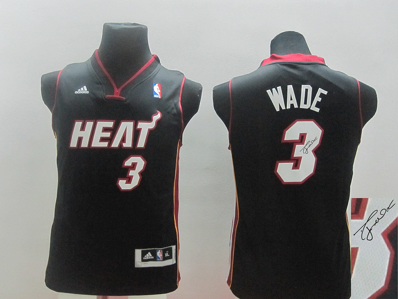 Heat 3 Wade Black Revolution 30 Youth Signature Edition Jerseys