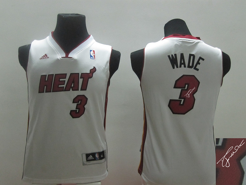 Heat 3 Wade White Revolution 30 Youth Signature Edition Jerseys