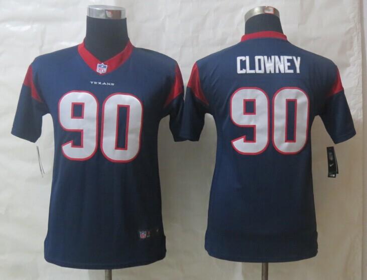 Nike Texans 90 Clowney Blue Limited Youth Jerseys